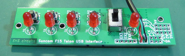 PCB completed with LEDs switches and cable